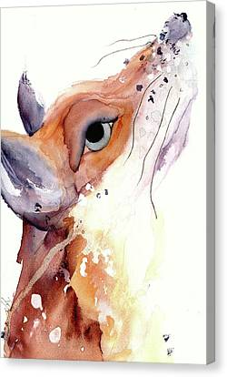 Canvas Print featuring the painting The Fox by Dawn Derman