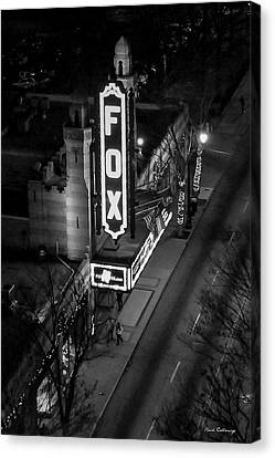 The Fox Thearter Bw Atlanta Night Art Canvas Print by Reid Callaway