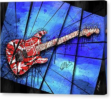 Van Halen Canvas Print - The Frankenstrat On Blue I by Gary Bodnar