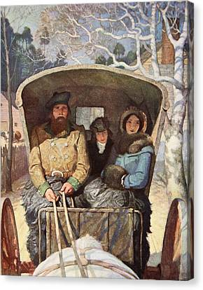 Brandywine Canvas Print - The Fraser Family Dressed Up Warm In The Horsedrawn Carriage by Newell Convers Wyeth