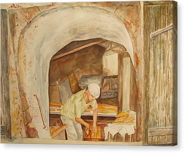 Canvas Print featuring the painting The French Baker by Vicki  Housel