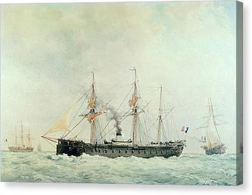 The French Battleship Canvas Print by Francois Geoffroy Roux