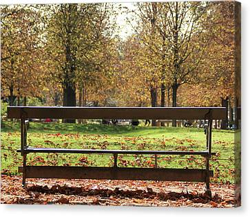 Canvas Print featuring the photograph The French Bench And The Autumn by Yoel Koskas