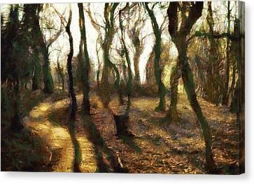 Canvas Print featuring the digital art The Frightening Forest by Gun Legler