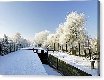 The Frozen Dallow Lane Lock Canvas Print by Rod Johnson