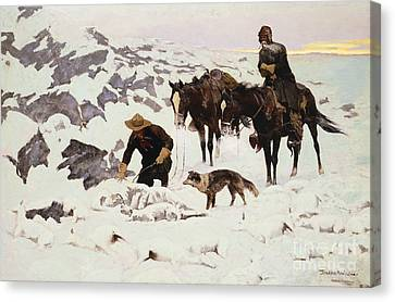 The Frozen Sheepherder Canvas Print by Frederic Remington