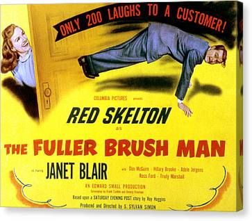 The Fuller Brush Man, Janet Blair, Red Canvas Print by Everett