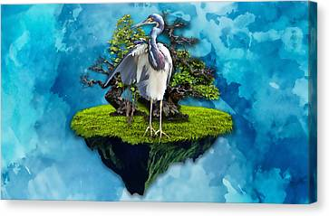 Heron Canvas Print - The Funtastic Journey by Marvin Blaine