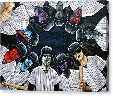 Canvas Print featuring the painting The Furies Game Over by Al  Molina