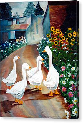 Canvas Print featuring the painting The Gaggle by Renate Nadi Wesley