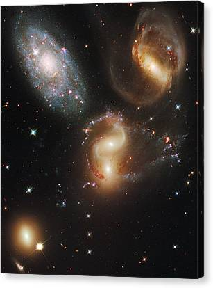 Satellite View Canvas Print - The Galaxies Of Stephans Quintet by Nasa/Esa