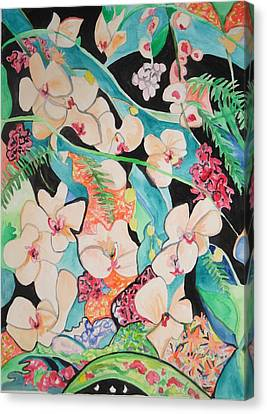 Canvas Print featuring the painting The Gallery Of Orchids 1 by Esther Newman-Cohen