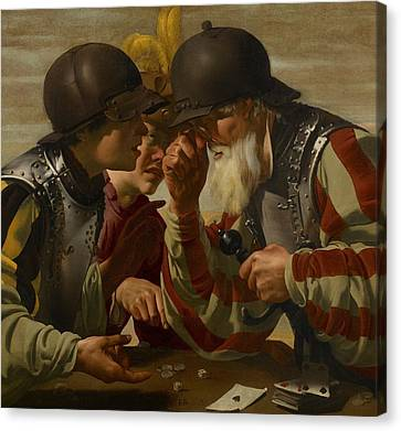 Trio Canvas Print - The Gamblers by Hendrick Ter Brugghen
