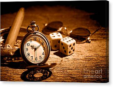 The Gambler's Watch - Sepia Canvas Print by Olivier Le Queinec