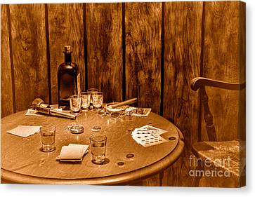 The Gambling Table - Sepia Canvas Print by Olivier Le Queinec
