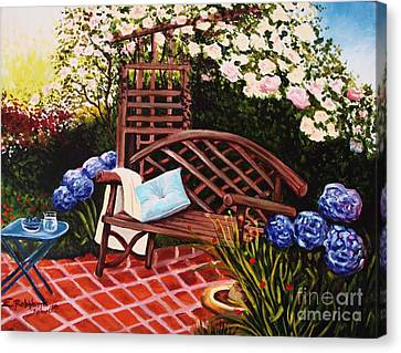 Canvas Print featuring the painting The Garden by Elizabeth Robinette Tyndall