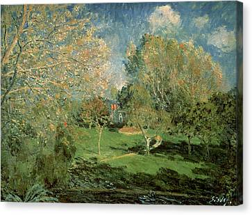 The Garden Of Hoschede Family Canvas Print by Alfred Sisley