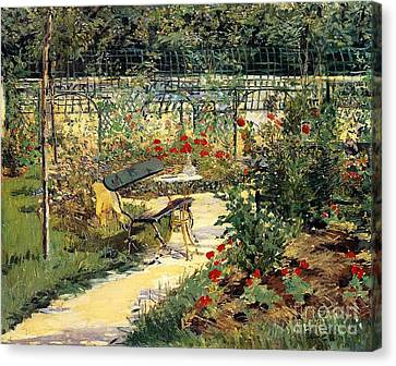 Benches Canvas Print - The Garden Of Manet by Edouard Manet