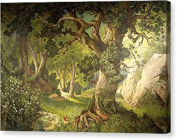 Squirrel Canvas Print - The Garden Of The Magician Klingsor, From The Parzival Cycle, Great Music Room by Christian Jank