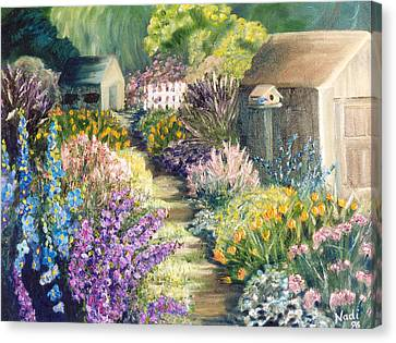 Canvas Print featuring the painting The Garden Path by Renate Nadi Wesley