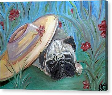 The Garden Pug Canvas Print
