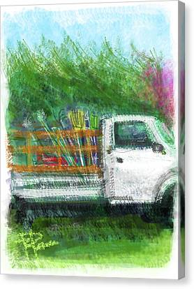 Rake Canvas Print - The Gardener's Truck by Russell Pierce