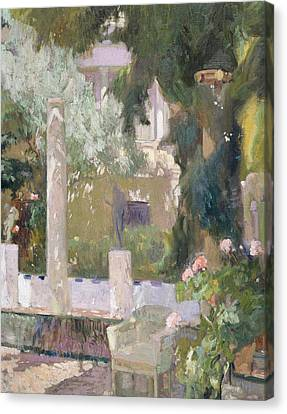 Spanish House Canvas Print - The Gardens At The Sorolla Family House by Joaquin Sorolla y Bastida