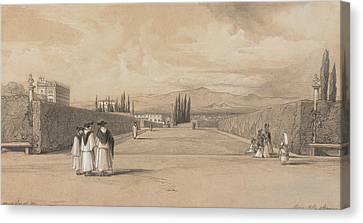 The Gardens Of The Villa Albani Canvas Print by Edward Lear