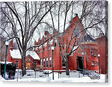 Maine Winter Canvas Print - The Gardiner Library In Winter by Olivier Le Queinec