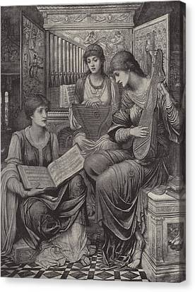 Lute Canvas Print - The Gentle Music Of The Bygone Day by John Melhuish Strudwick