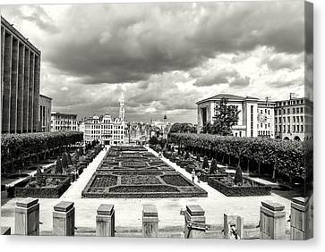 The Geometric Garden In Black And White Canvas Print