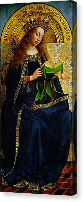 The Ghent Altarpiece The Virgin Mary Canvas Print by Jan and Hubert Van Eyck
