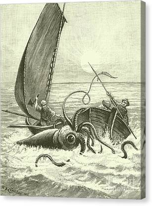 The Giant Octopus Canvas Print by English School