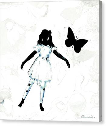 The Girl And The Black Butterflie Canvas Print