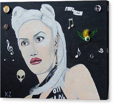 Canvas Print featuring the painting The Girl From Orange County.gwen Stefani. by Ken Zabel