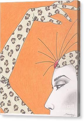 The Girl In The Leopard Costume -- Retro Portrait Of Celebrity Canvas Print