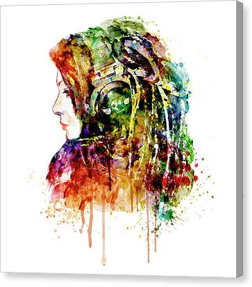 The Girl Is A Dj Canvas Print by Marian Voicu