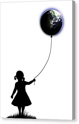 The Girl That Holds The World - White  Canvas Print by Nicklas Gustafsson