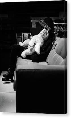 Canvas Print featuring the photograph The Girl The Polar Bear And The Phone by John Williams