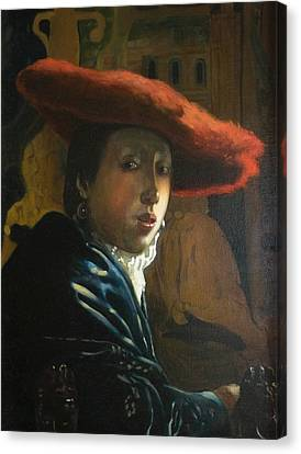 The Girl With The Red Hat By D.amendola After Vermeer Canvas Print by Dominique Amendola