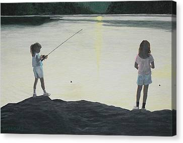 The Girls At The Lake Canvas Print by Candace Shockley
