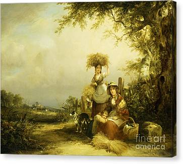 The Gleaners Canvas Print - The Gleaners Shirley, Hants by William Shayer Snr