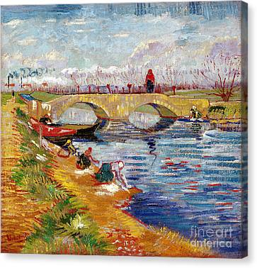 The Gleize Bridge Over The Vigneyret Canal  Canvas Print by Vincent van Gogh