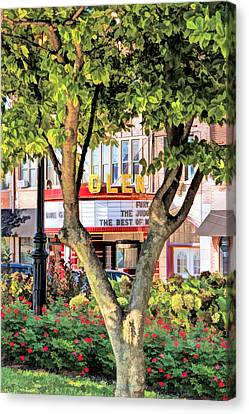 Canvas Print featuring the painting The Glen Movie Theater by Christopher Arndt