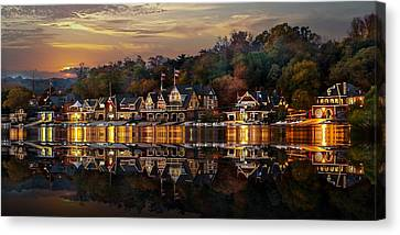 The Glow Of Boat House Row Reflection Canvas Print by Gene Rooney
