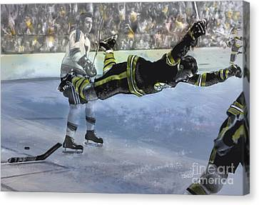 The Goal, Bobby Orr Canvas Print by Mark Tonelli