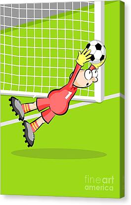 Football Canvas Print - The Goalkeeper Jumps Catching The Ball In His Hands Preventing A Goal by Daniel Ghioldi