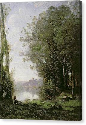 The Goatherd Beside The Water  Canvas Print by Jean Baptiste Camille Corot