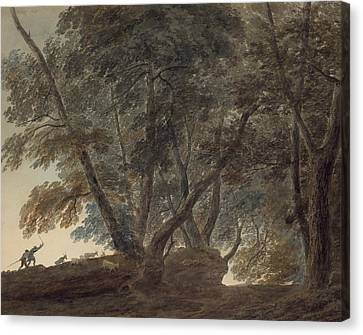 Italian Landscape Canvas Print - The Goatherd- View On The Galleria Di Sopra Above The Lake Of Albano by John Robert Cozens
