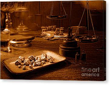 Prospector Canvas Print - The Gold Trader Shop - Sepia by Olivier Le Queinec